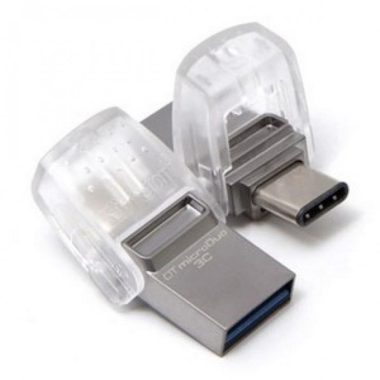 Imagine Stick USB 3.0 32GB DATA TRAVELER microDuo 3C OTG USB-A + USB-C, Kingston DTDUO3C/32GB-2