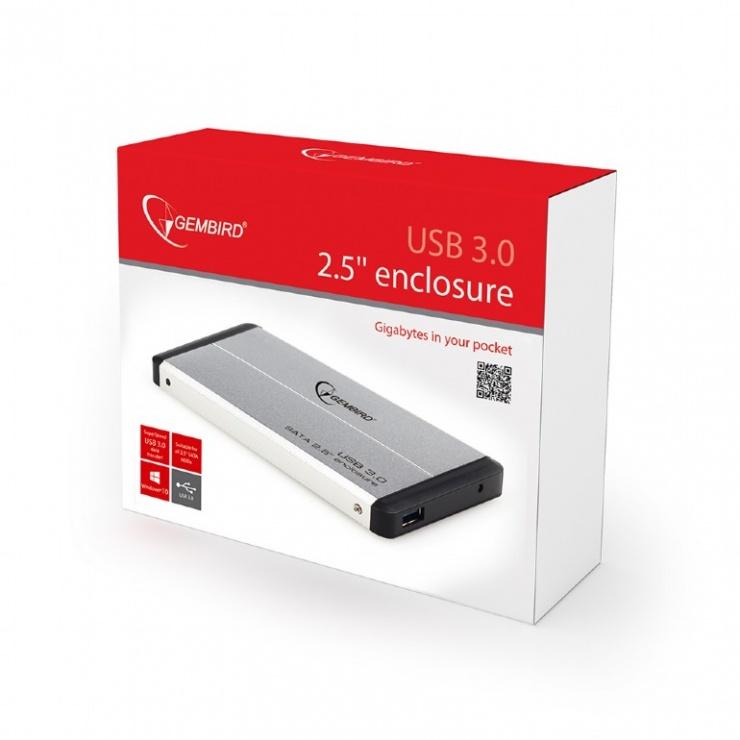 "Imagine Rack extern 2.5"" pentru HDD SATA cu USB 3.0 Argintiu, Gembird EE2-U3S-2-S-2"