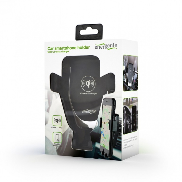 Imagine Suport auto cu incarcare rapida wireless 10W, Gembird EG-TA-CHAV-QI10-01