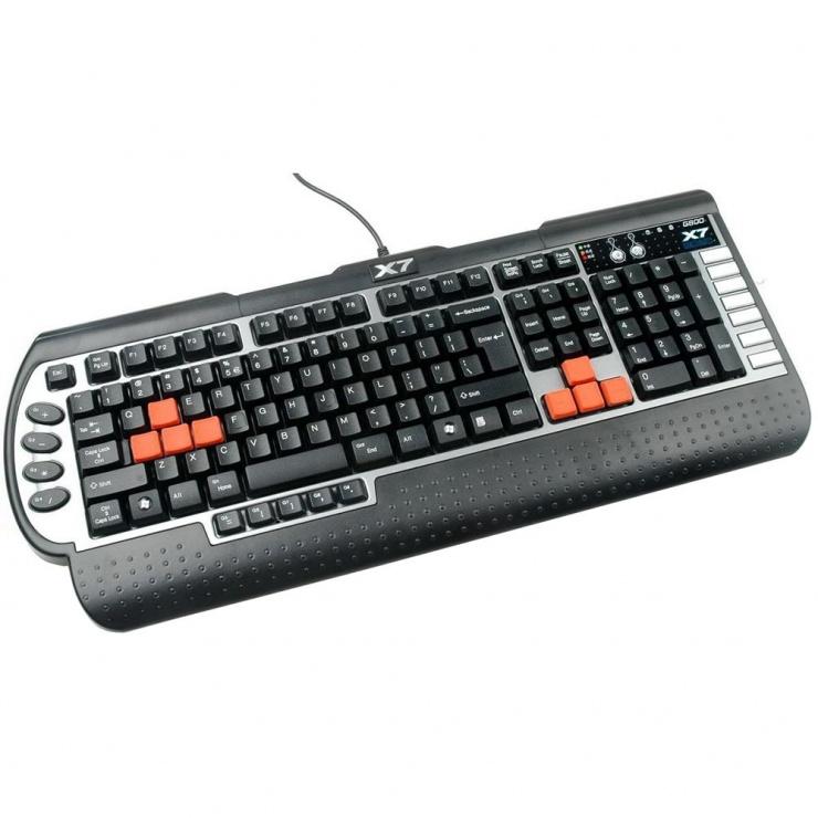 Imagine Tastatura gaming USB X7 Negru & Argintiu, A4TECH G800V-1