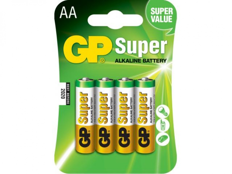 Imagine Blister 4 baterii AA LR6 Alkaline, GP BATTERIES