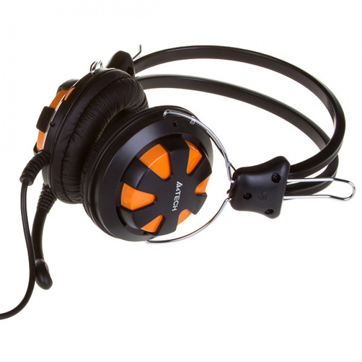 Imagine Casti stereo cu microfon Orange/Black jack 3.5mm, A4Tech Comfortfit HS-28-3-1