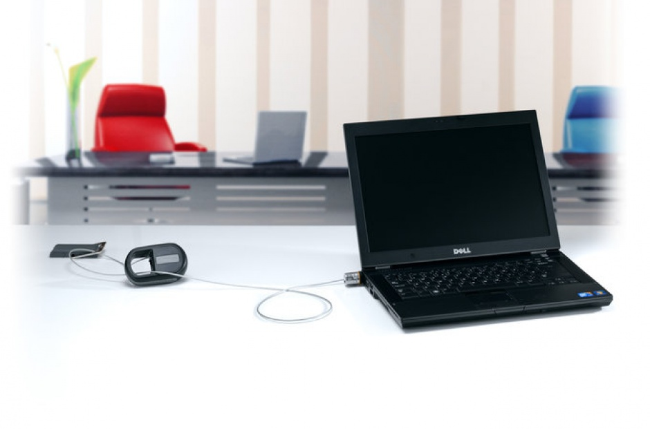 Imagine Cablu antifurt notebook Kensington MicroSaver, otel, retractabil, 1.2m avertizare furt, doua chei, K