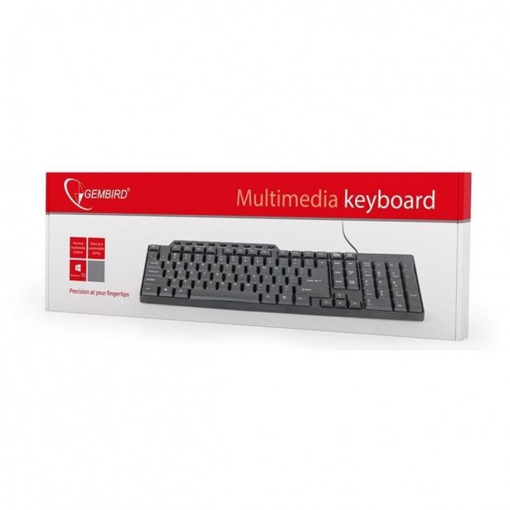 Imagine Tastatura Multimedia USB Negru, GEMBIRD KB-UM-104