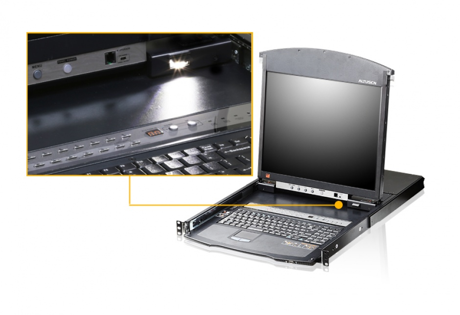 Imagine Distribuitor KVM over IP LCD 8 porturi Cat 5 Dual Rail, Altusen KL1508AIM