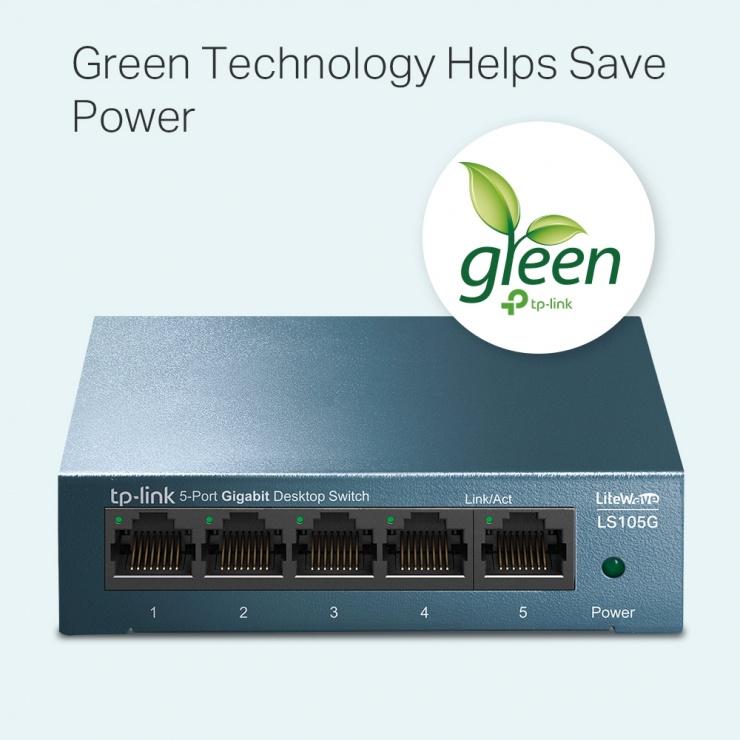 Imagine Switch 5 porturi Gigabit LiteWave carcasa metalica, TP-LINK LS105G-2