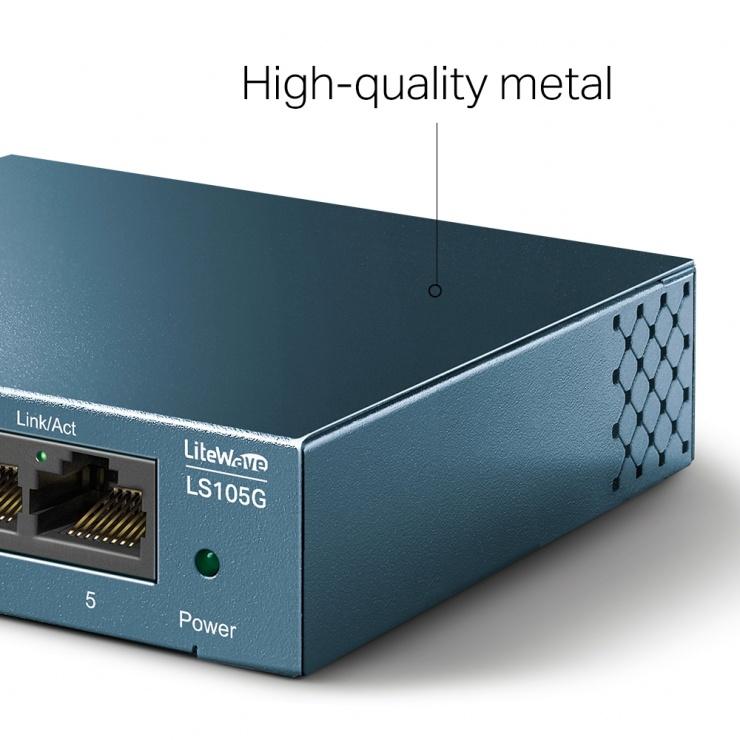 Imagine Switch 5 porturi Gigabit LiteWave carcasa metalica, TP-LINK LS105G-4
