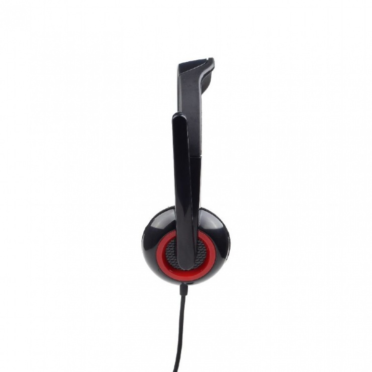 Imagine Casti stereo cu microfon Negru & Rosu, Gembird MHS-002-3