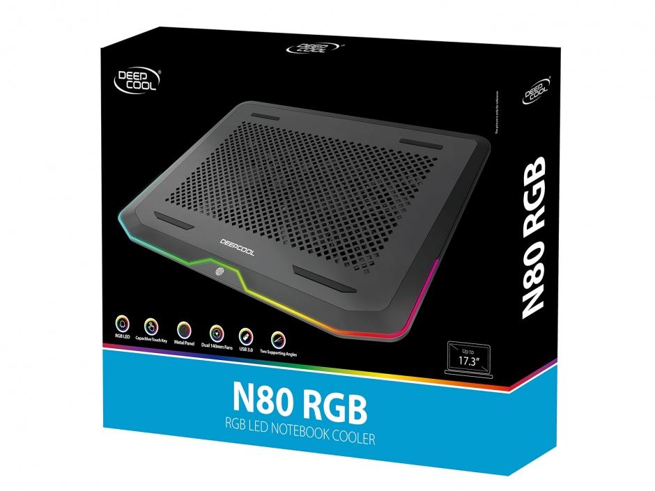 """Imagine Stand notebook 17"""" cu iluminare RGB 2 x fan 14cm + 2 x USB 3.0, Deepcool N80 RGB-3"""