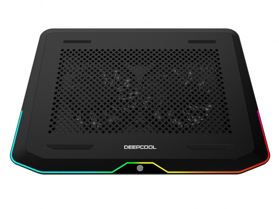 """Imagine Stand notebook 17"""" cu iluminare RGB 2 x fan 14cm + 2 x USB 3.0, Deepcool N80 RGB"""