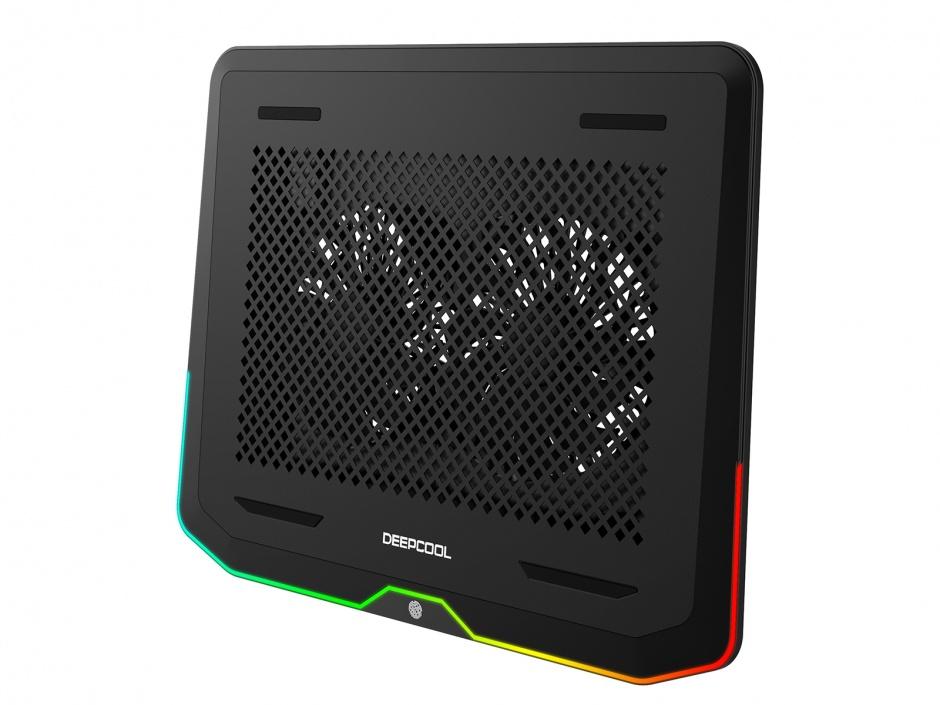 """Imagine Stand notebook 17"""" cu iluminare RGB 2 x fan 14cm + 2 x USB 3.0, Deepcool N80 RGB-2"""