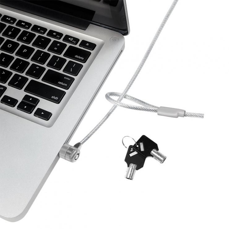 Imagine Cablu antifurt laptop cu cheie, metal, Logilink NBS003-2