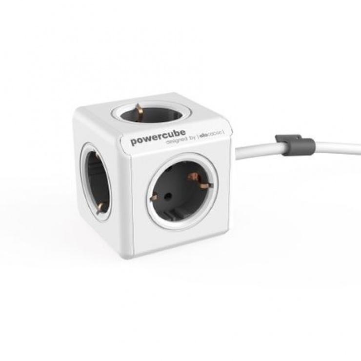 Imagine Prelungitor PowerCube sub forma de cub 5 prize Schuko 1.5m Gri, ALLOCACOC