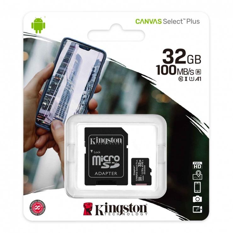 Imagine Card de memorie micro SD 32GB clasa 10 Canvas Select Plus, Kingston SDCS2/32GB