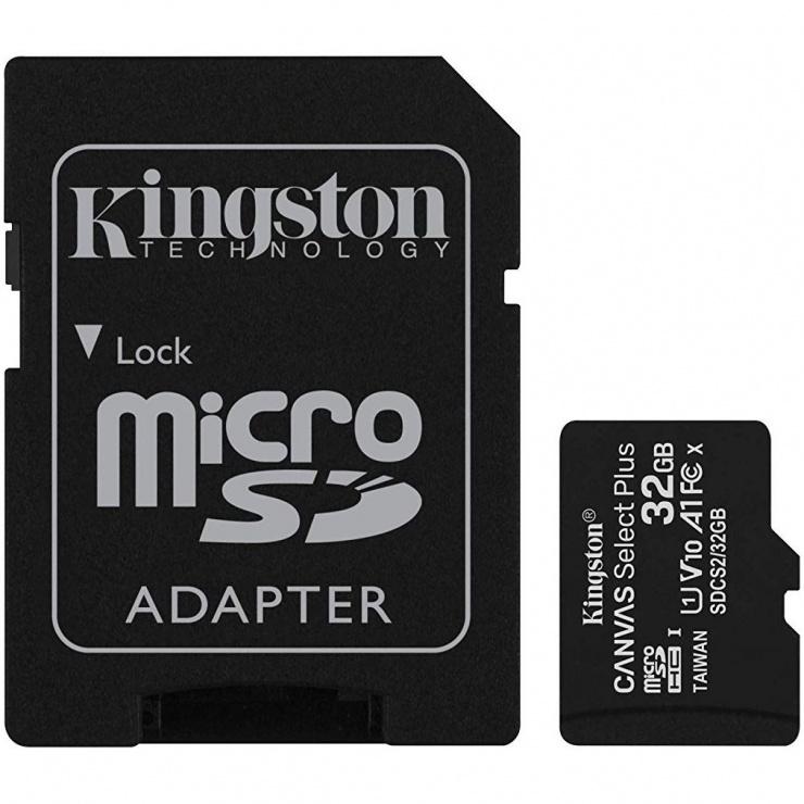Imagine Card de memorie micro SDHC 32GB clasa 10 Canvas Select Plus, Kingston SDCS2/32GB
