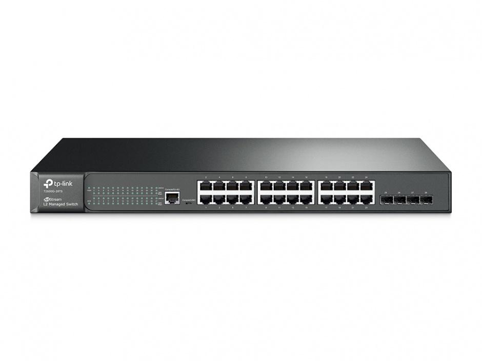 Imagine Switch L2 cu management 24 Porturi 10/100/1000M + 4 sloturi SFP, TP-LINK TL-SG3424