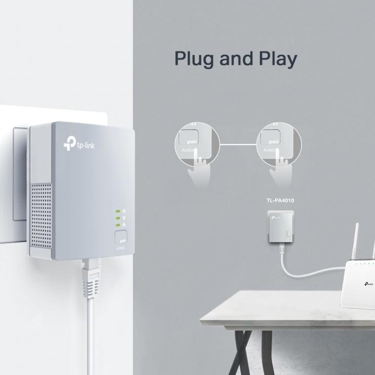 Imagine Kit Adaptor Powerline Nano AV500 500Mbps, TP-LINK TL-PA4010KIT-3