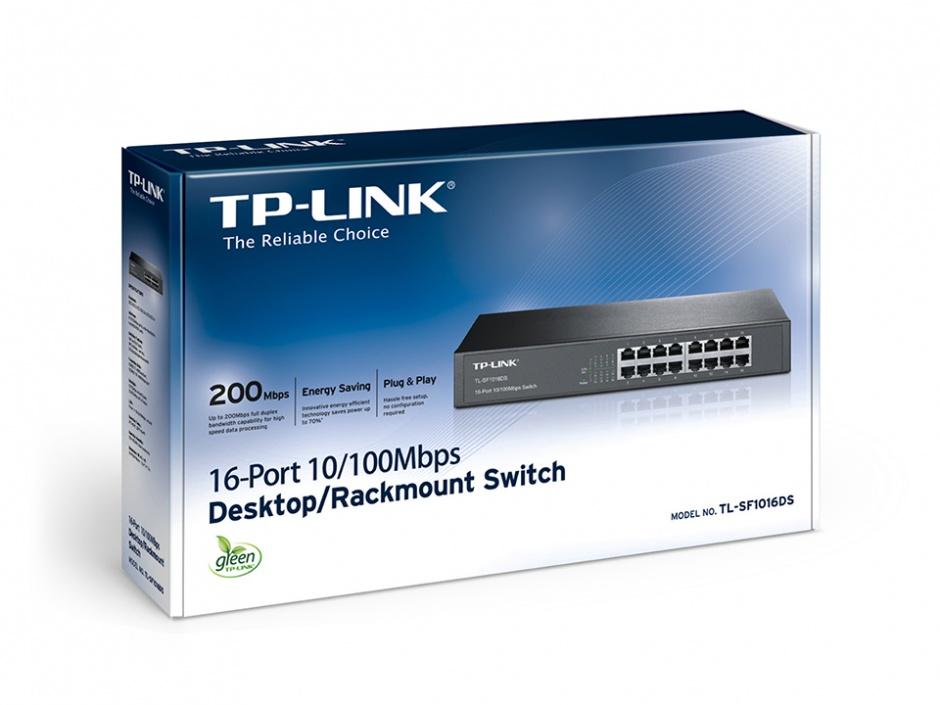 Imagine Switch 16 porturi 10/100Mbps, montabil in Rack, TP-LINK TL-SF1016DS-2