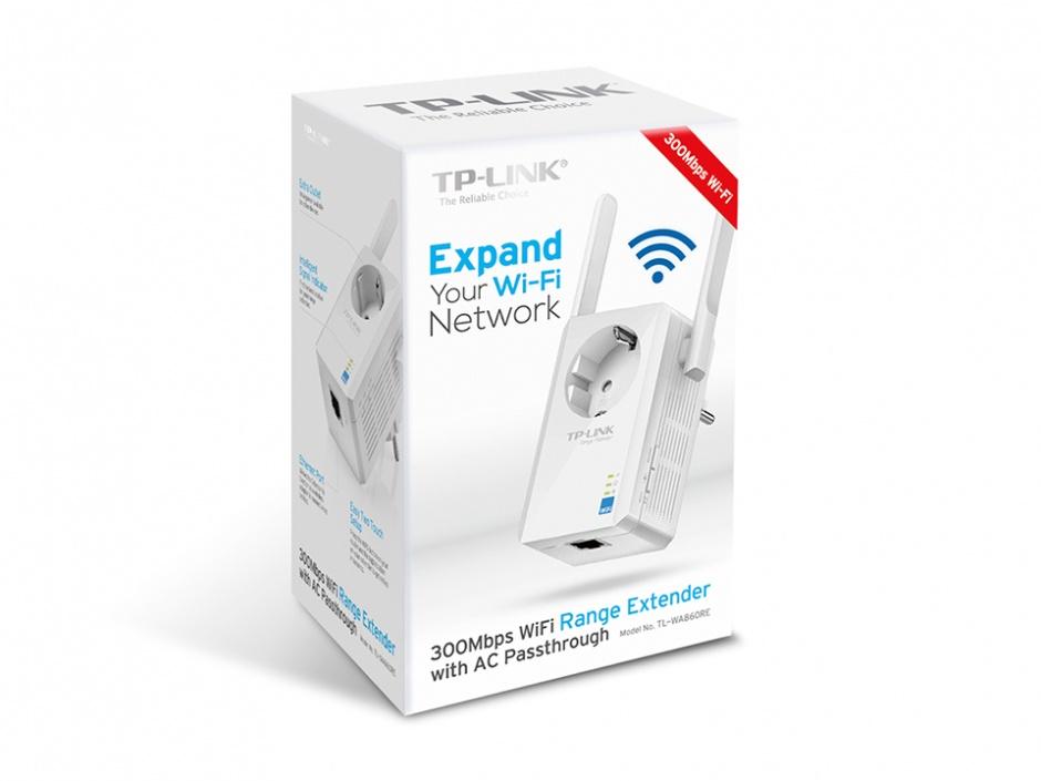 Imagine Range Extender Universal WiFi 300Mbps cu AC Passthrough, TP-Link TL-WA860RE-2