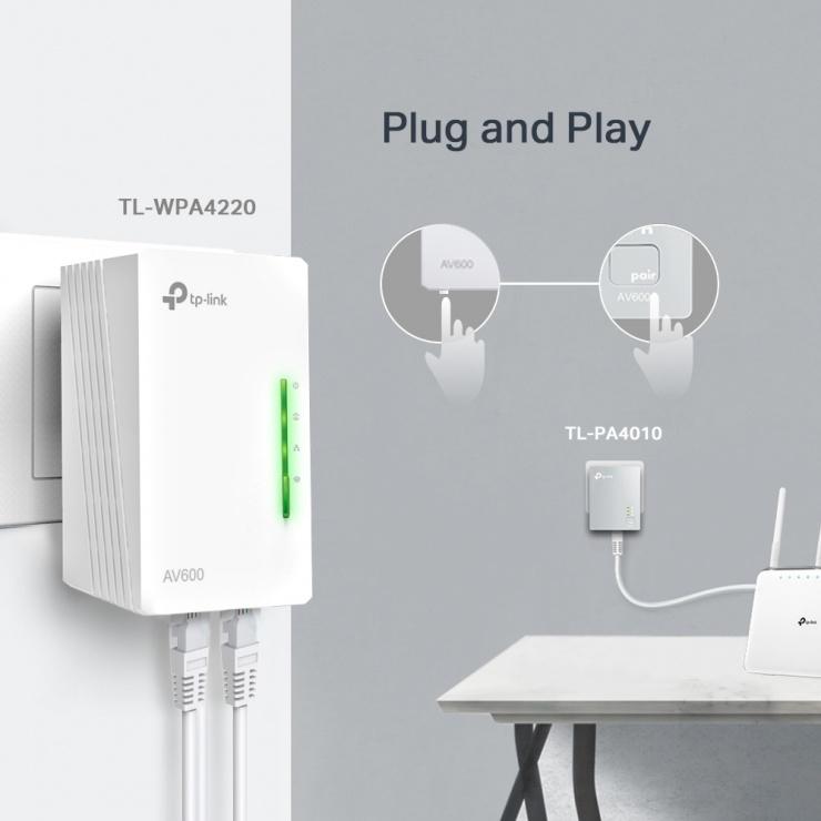 Imagine Kit 2 adaptoare Powerline Extender Wi-Fi AV600 300Mbps, TP-Link TL-WPA4220KIT-4