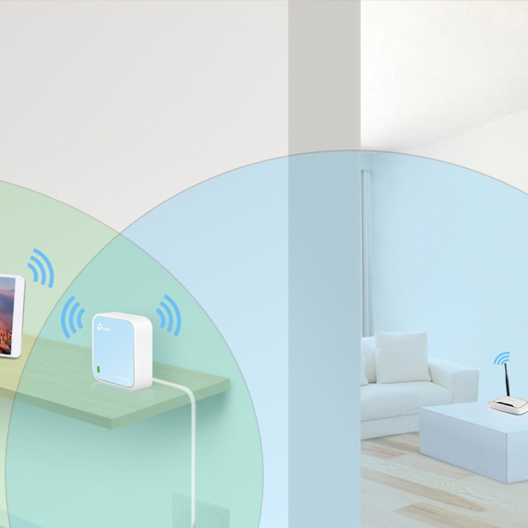Imagine Router portabil wireless nano 300Mbps, TP-LINK TL-WR802N