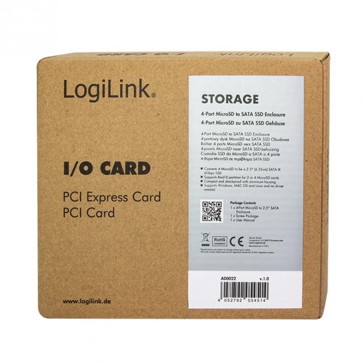 """Imagine Rack extern 2.5"""" pentru 4 x micro SD, Logilink AD0022"""
