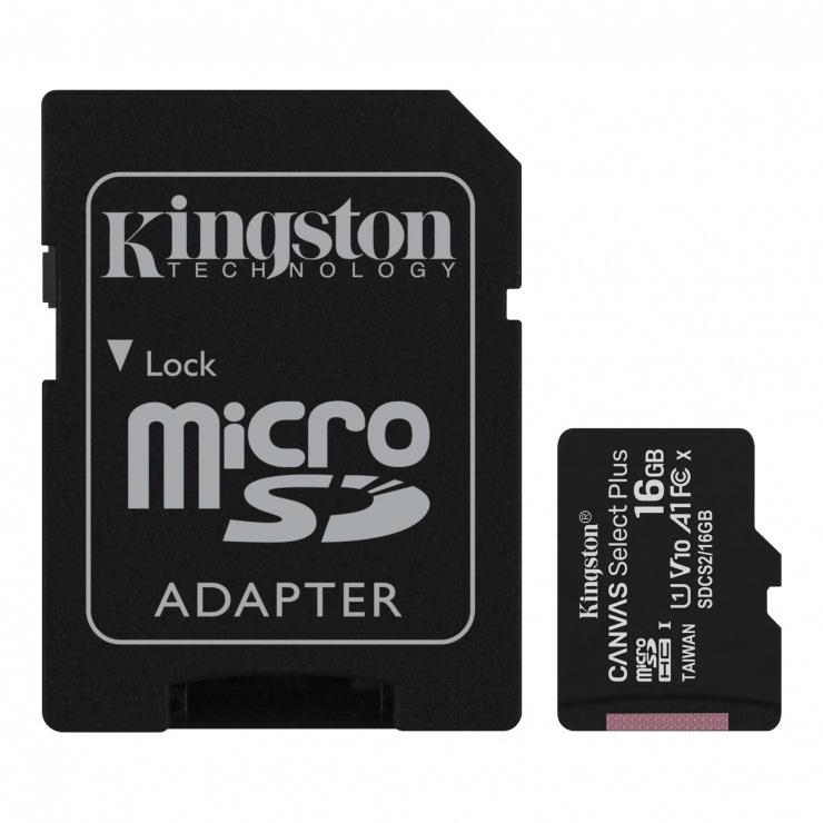 Imagine Card de memorie micro SDHC 16GB clasa 10 Canvas Select Plus, Kingston SDCS2/16GB