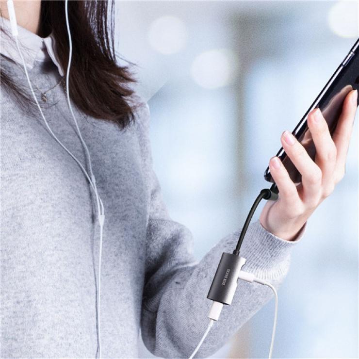 Imagine Adaptor audio + incarcare iPhone Lightning la 2 x Lightning T-M, DUX DUCIS