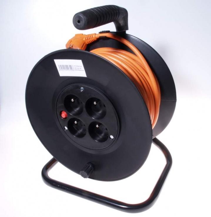Imagine Cablu prelungitor cu tambur 4 prize Schuko 230V 25m Orange
