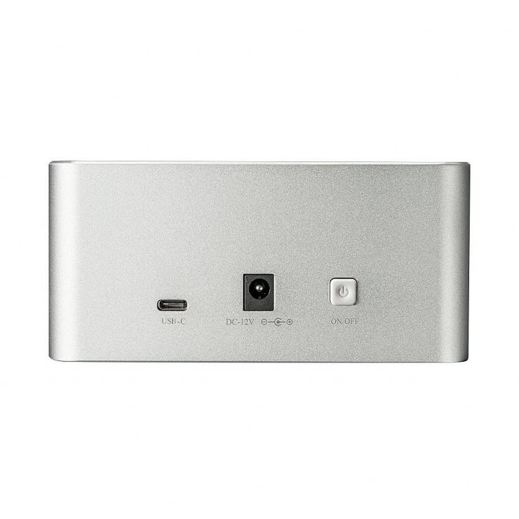 "Imagine Docking station USB 3.1 tip C Gen 2 pentru HDD SATA 2.5"" + 3.5"" Functie de Clona, Lindy L43231"