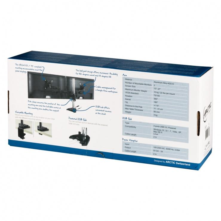 Imagine Suport montare masa pentru 2 monitoare + HUB USB 3.0, Arctic Z2 Pro Gen 3-13