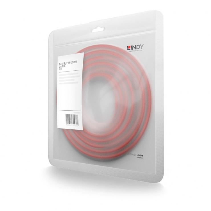 Imagine Cablu de retea S/FTP cat 7 LSOH cu mufe RJ45 Rosu 0.5m, Lindy L47291