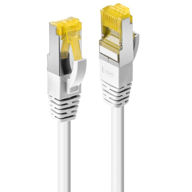 Imagine Cablu de retea S/FTP cat 7 LSOH cu mufe RJ45 Alb 5m, Lindy L47326