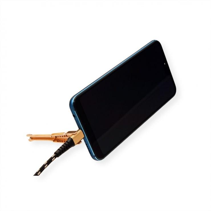 Imagine Cablu de date + incarcare GOLD USB 2.0 la USB-C T-T 1m + suport smartphone, Roline 11.02.8920
