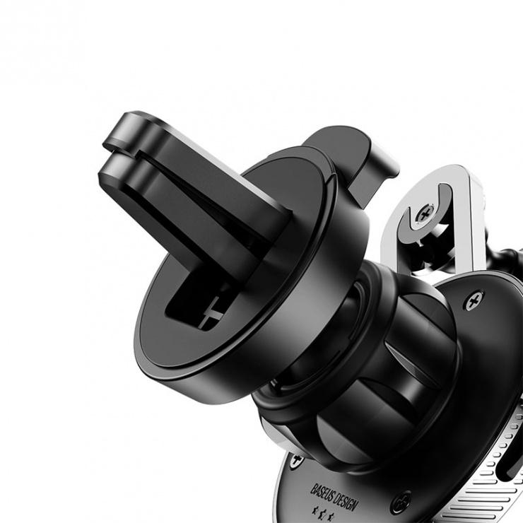 Imagine Suport auto magnetic pentru smartphone cu montare ventilator + cablu iphone Lightning, Baseus YY