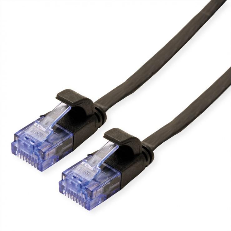 Imagine Cablu retea UTP Flat cat.6A 0.5m Negru, Value 21.99.0820