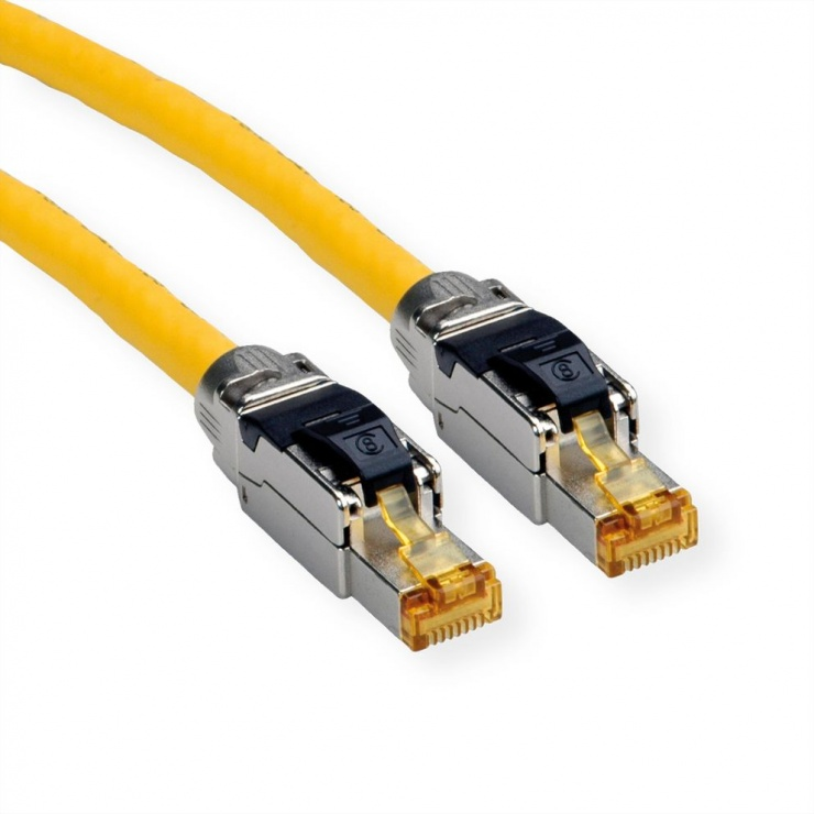 Imagine Cablu de retea RJ45 S / FTP- (PiMF-) Cat.8 LSOH fir solid Galben 3m, Roline 21.15.1853