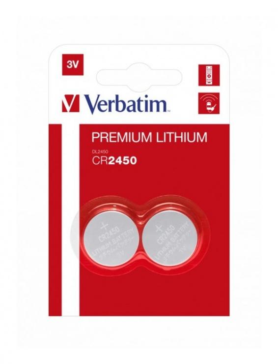 Imagine Set 2 baterii CR2450 3V litiu, Verbatim 49938