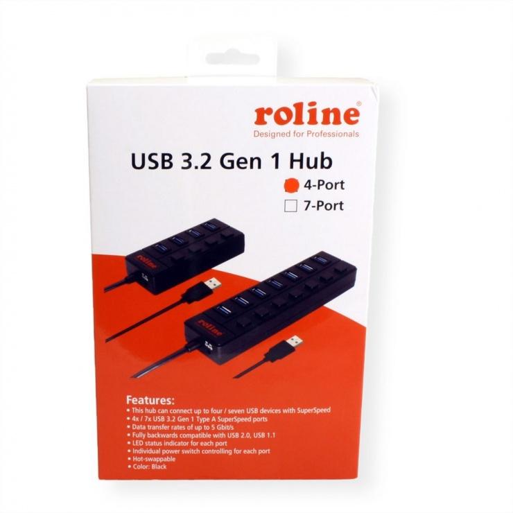 Imagine HUB USB 3.0 cu 4 porturi cu switch, Roline 14.02.5046