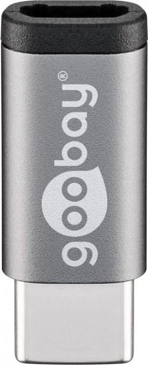 Imagine Adaptor micro USB 2.0 la USB-C T-M Gri, Goobay 56635