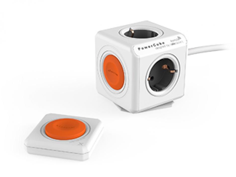 Imagine Prelungitor PowerCube Extended 4 prize 1.5m cu telecomanda, Allocacoc