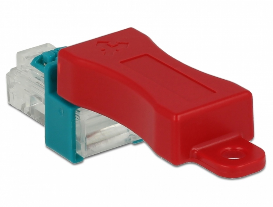 Imagine Set 6 buc clips securizare mufa RJ45 + cheie, Delock 86425
