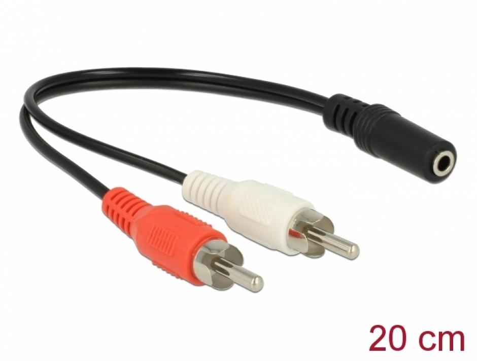 Imagine Adaptor audio jack stereo 3.5mm la 2 x RCA M-T 20cm, Delock 85806