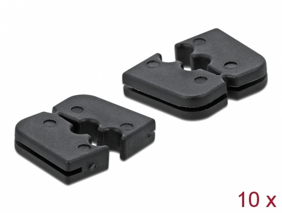 Imagine Set 10 buc protectie pentru 2 cabluri dreptunghiular - diametru 2.2mm Negru, Delock 60259