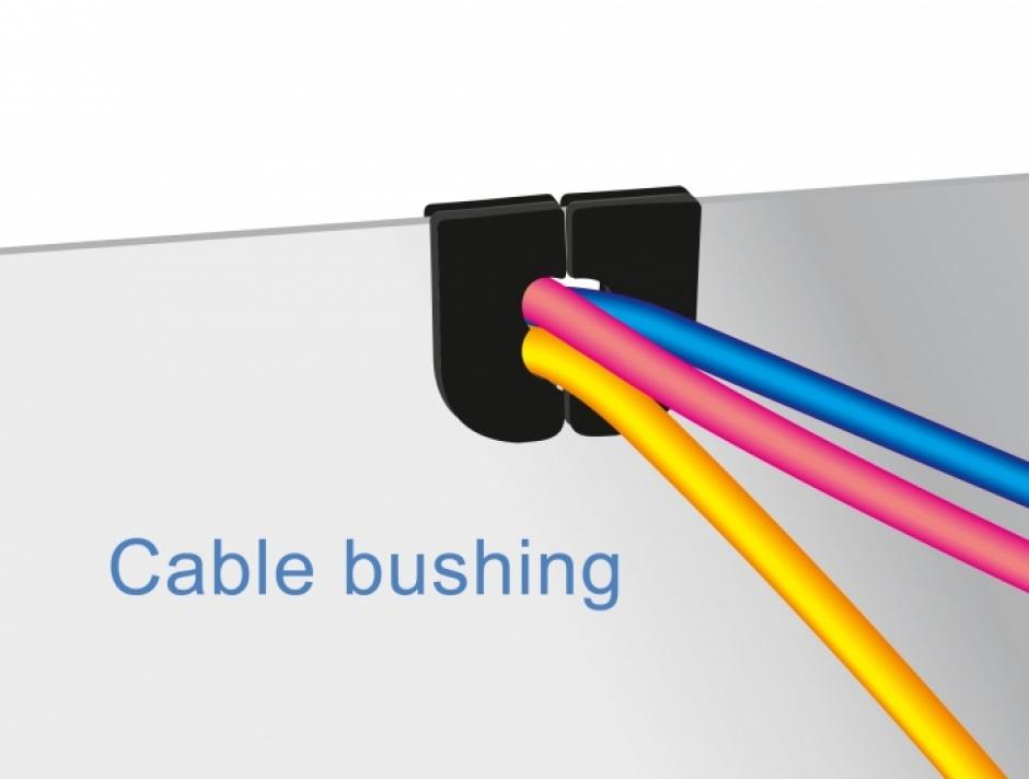 Imagine Set 10 buc protectie cabluri forma U - diametru 12.5mm Negru, Delock 60266