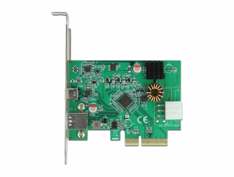 Imagine PCI Express cu 1 x USB-C PD + 1 x SuperSpeed USB 10 Gbps (USB 3.2 Gen 2)-A, Delock 89001