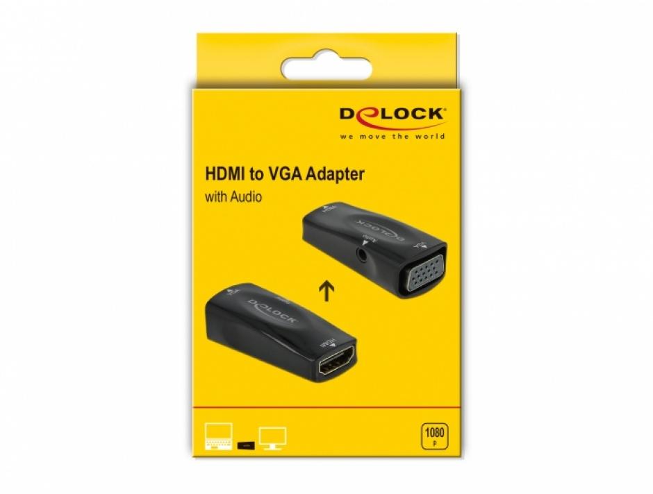 Imagine Adaptor HDMI la VGA cu audio M-M, Delock 66560