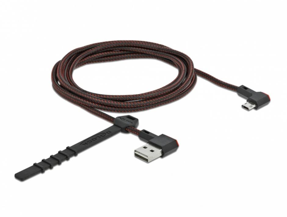 Imagine Cablu EASY-USB 2.0 la micro-B EASY-USB unghi stanga/dreapta 2m textil, Delock 85273