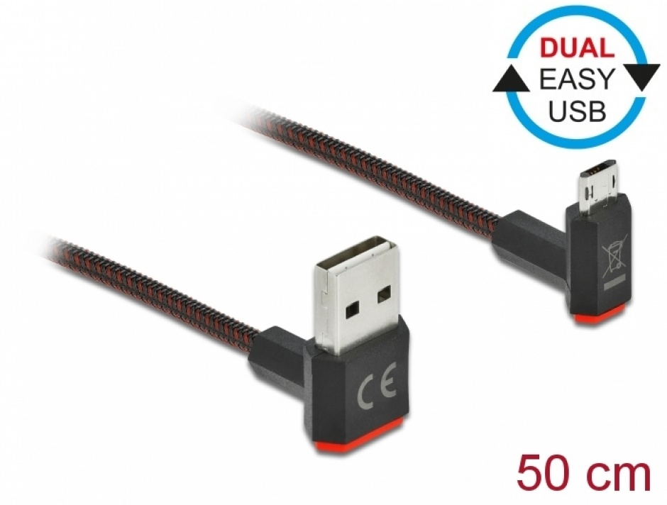 Imagine Cablu EASY-USB 2.0 la micro-B EASY-USB unghi sus/jos 0.5m textil, Delock 85265