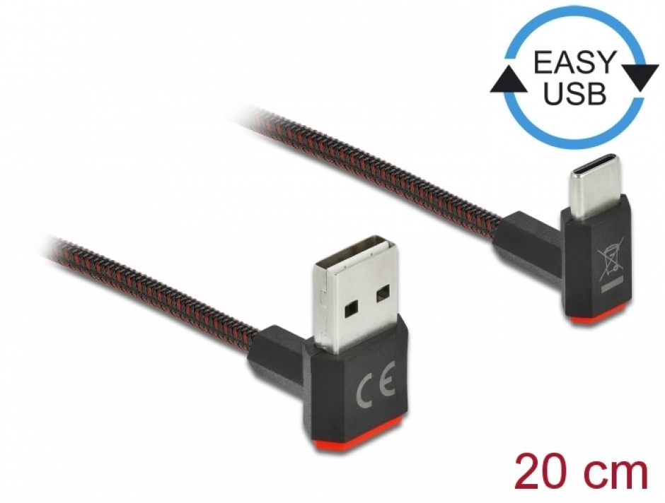 Imagine Cablu EASY-USB 2.0 la USB-C unghi sus/jos 0.2m textil, Delock 85274